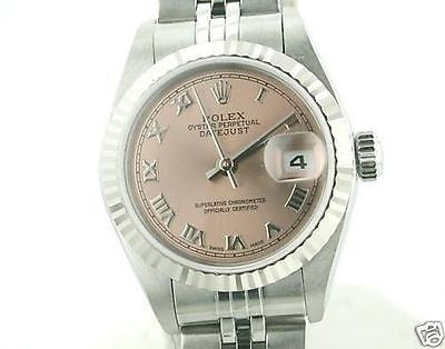 ROLEX LADIES DATEJUST STAINLESS STEEL PINK 79174 BEAUTIFUL USED WATCH LATE MODEL