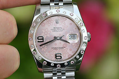 ROLEX LADIES MENS 36MM DATEJUST PINK ROSE FLORAL DIAL DIAMOND BEZEL 116200 MINT