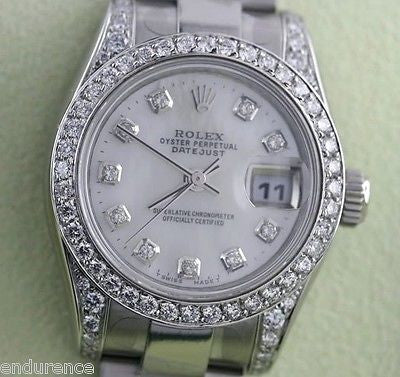ROLEX LADIES DATEJUST STAINLESS STEEL DIAMOND MOP DIAL BEZEL & LUGS 179160