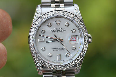 ROLEX MENS LADIES 36mm DATEJUST 116234 Z STAINLESS STEEL DIAMOND DIAL BEZEL LUGS