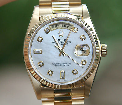 ROLEX MENS OR LADIES PRESIDENT 36mm DIAMOND MOTHER of PEARL 18K YG 18038