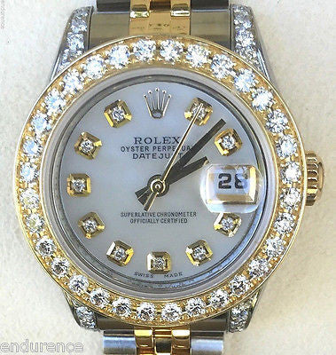 ROLEX 26mm LADIES DATEJUST 18k GOLD STAINLESS STEEL DIAMOND BEZEL DIAL LUGS