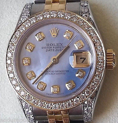 ROLEX LADIES DATEJUST TWO TONE MOTHER OF PEARL DIAMOND DIAL BEZEL LUGS 179173