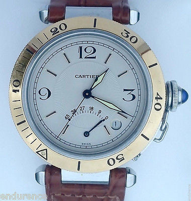 CARTIER PASHA POWER RESERVE TWO TONE GOLD & STEEL LEATHER STRAP W3101255