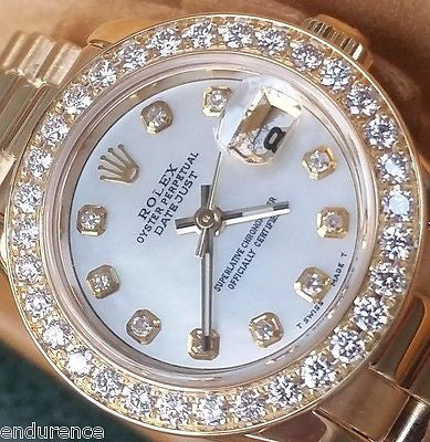 ROLEX LADY PRESIDENT 18K GOLD MOTHER OF PEARL DIAMOND DIAL DIAMOND BEZEL 179178