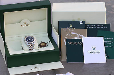 ROLEX MENS DATEJUST 36mm STAINLESS STEEL BLACK 116234 18K WHITE GOLD USED