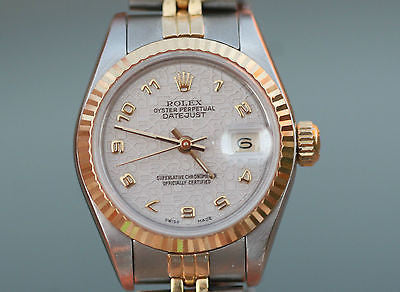 ROLEX Datejust Ladies 18K Yellow Gold Stainless Steel 69163 Jubilee Dial