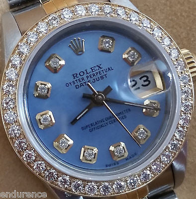 ROLEX DATEJUST TWO TONE MOTHER OF PEARL BLUE DIAMONDS DIAL BEZEL MODEL 69173
