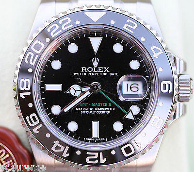 ROLEX GMT MASTER II 2 STAINLESS STEEL BLACK on BLACK  WATCH 116710
