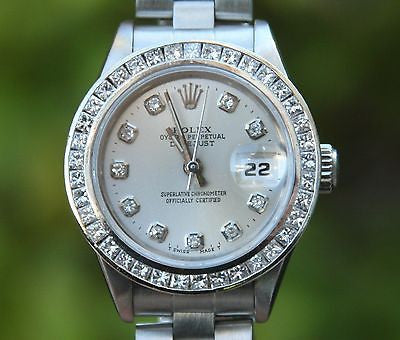 ROLEX LADIES 69160 DATEJUST 26mm STAINLESS STEEL DIAMOND BEZEL SILVER DIAL MINT