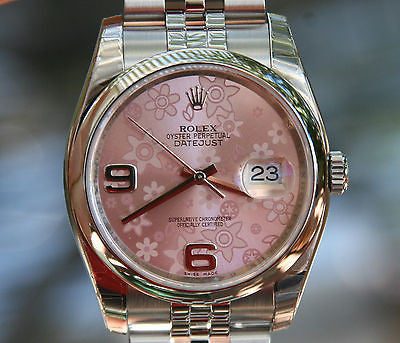 ROLEX MENS LADIES FULL 36mm DATEJUST STAINLESS STEEL pink FLORAL 116200