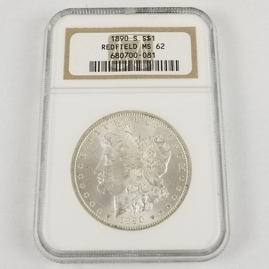 1890-S Morgan Silver Dollar NGC MS 62 Redfield Hoard Collection $1 Coin