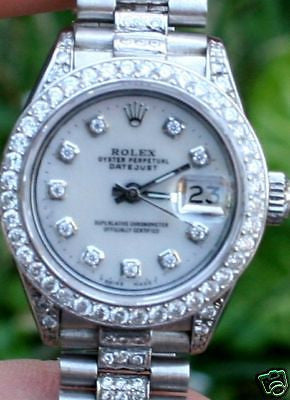 ZZZ ROLEX LADIES  WHITE GOLD 6917 DATEJUST PRESIDENT DIAMOND BAND DIAMONDS ALL OVER