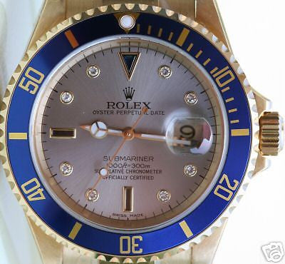 ZZZ ROLEX MENS SUBMARINER WATCH 18K GOLD FACTORY DIAL 2005