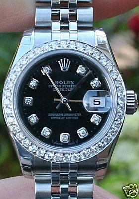 ZZZ ROLEX LADIES STEEL DATEJUST WATCH 179160  DIAMOND DIAL DIAMOND BEZEL Yea r2014