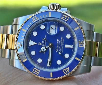 ROLEX MENS SUBMARINER 116613 CERAMIC STEEL AND 18K GOLD BLUE/BLUE NEW