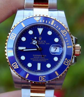 ROLEX MENS 116613 CERAMIC STEEL GOLD BLUE SUBMARINER NEW DIAL COLOR