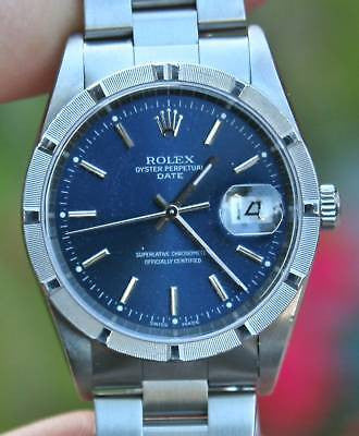 ROLEX MENS STAINLESS STEEL DATE BLUE DIAL