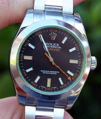 ROLEX STEEL MENS GREEN CRYSTAL MILGAUSS WATCH NEW