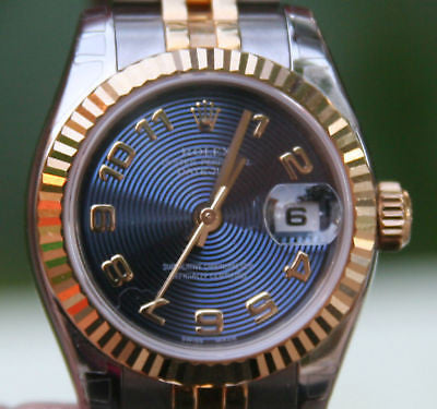 ZZZ ROLEX LADIES DATEJUST BLUE CONCENTRIC ARABIC DIAL STEEL GOLD BOX 179173
