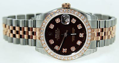 ROLEX MIDSIZE 18k ROSE GOLD/SS DATEJUST WATCH CHOCOLATE