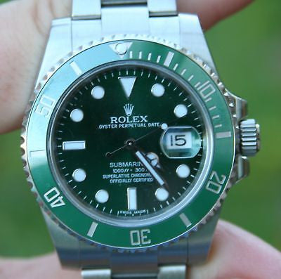 ROLEX SS SUBMARINER WATCH GREEN ON GREEN CERAMIC 116610LV BOX PAPERS