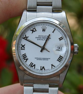 ROLEX MENS STEEL DATEJUST WATCH 16200 WHITE ROMAN SAPPHIRE CRYSTAL QUICKSET