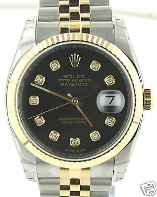 ZZZ ROLEX MENS STEEL & GOLD DATEJUST BLACK DIAMOND DIAL YR 2013 MODEL 116233