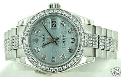 ROLEX LADIES PRESIDENT PLATINUM 179136 FACTORY DIAMOND BAND BZL LUGS 05 CROWN CL