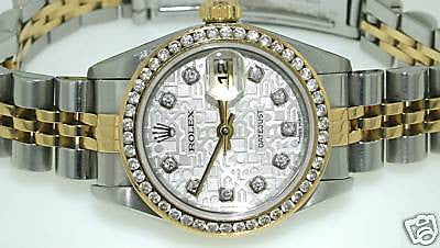 ZZZ ROLEX LADIES GOLD & STEEL DATEJUST WATCH DIAMONDS LIKNU