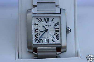 CARTIER WATCH TANK FRANCAISE LARGE MODEL STAINLESS STEEL BOXES