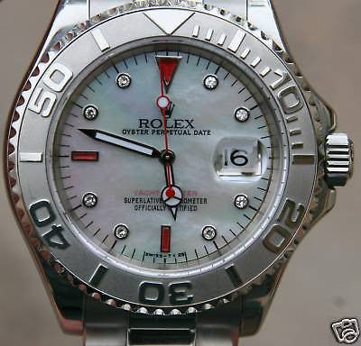 ZZZ ROLEX MENS YACHTMASTER WATCH PLATINUM STAINLESS STEEL MOTHER OF PEARL RUBY DIAL