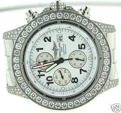 BREITLING STEEL MENS SUPER AVENGER 12 CARATS DIAMONDS