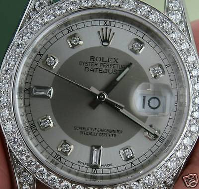 ZZZ ROLEX DATEJUST MENS STEEL WATCH DIAMOND BEZEL LUGS 2010