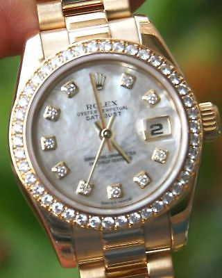 ROLEX LADIES 18K GOLD PRESIDENT FACTORY MOP DIAMOND 179138