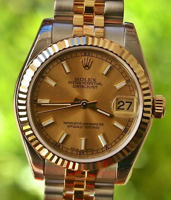 ROLEX 18k GOLD S/S MIDSIZE LADIES MENS DATEJUST WATCH