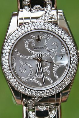 ROLEX 18k 81339 WHITE GOLD PEARLMASTER ARABESQUE SPECTACULAR ALL DIAMONDS YR2013