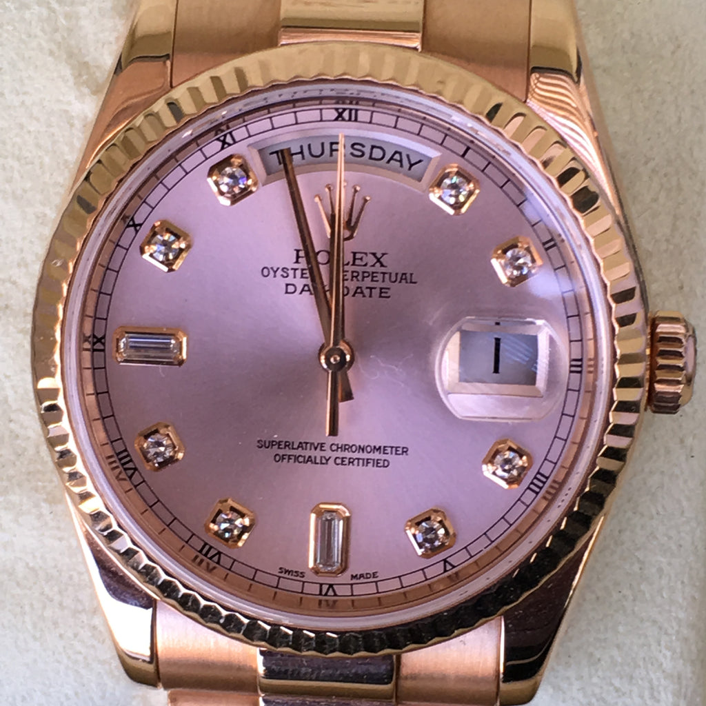 Rolex Day Date Presidential 36mm Pink Rose Gold 118235 Diamond Dial