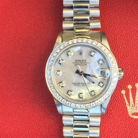 Rolex Datejust Stainless 31mm 18k White Gold Band & Diamond Bezel & Diamond Dial
