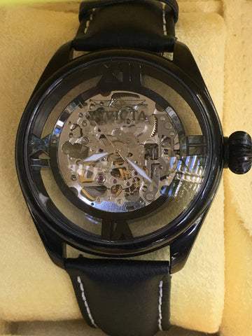 INVICTA 3406 II Skeleton Ghost Black Lorica Leather Band 46mm Watch Box Papers N