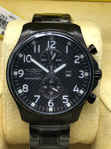 INVICTA 0383 Specialty Collection GMT Black IonPlated Stainless Steel 48mm Watch