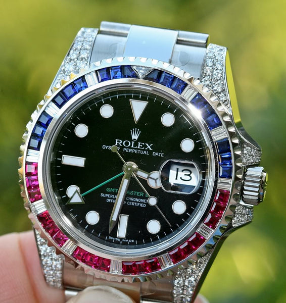 Rolex 116710 GMT Master II 40mm Stainless Steel Diamond Ruby Sapphire Pepsi