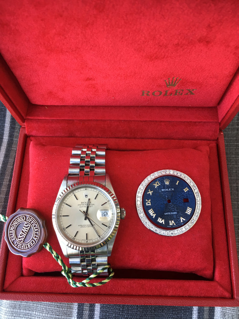 Rolex Datejust 36mm Steel Jubilee Band Diamond Bezel Blue Roman Dial 16234