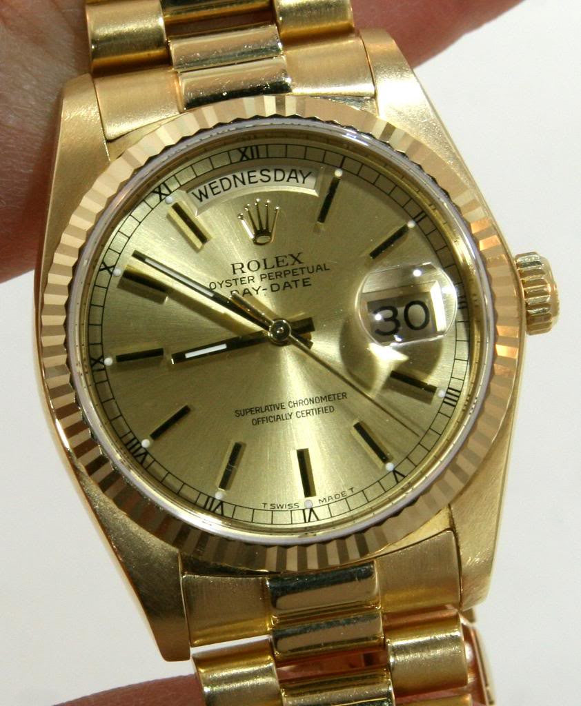 ROLEX MENS GOLD DAY-DATE PRESIDENT WATCH  DOUBLE-QUICK