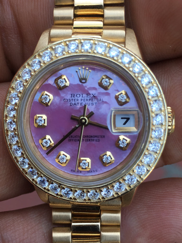 Rolex 26mm Datejust 18k Gold Ladies President Pink MOP Diamond Dial Bezel 69178