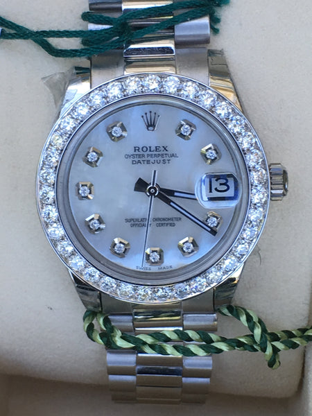 Rolex 31mm Datejust Steel Diamond Dial Bezel 18k White Gold Band 178240