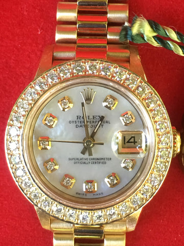 Rolex 26mm Datejust 18k Gold Ladies President White MOP Diamond Dial Bezel 69178
