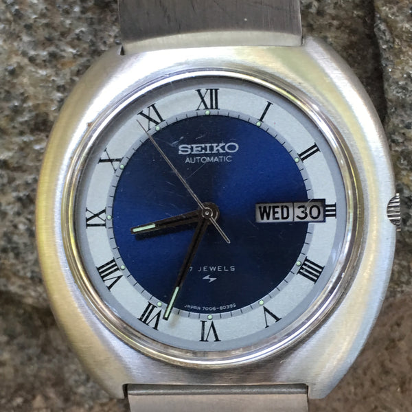 Seiko Vintage Automatic Day Date Watch Stainless Steel Original 7006-8029