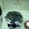 Rolex 116400GV Milgauss Green Crystal Black Dial 40mm Steel, Box, Tags, Card