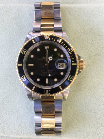 Rolex 16803 Submariner 18k Yellow Gold Stainless Steel Black Working As Is